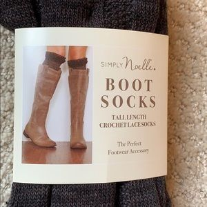 NWT Simply Noelle Brown Tall Crochet Boot Socks OS